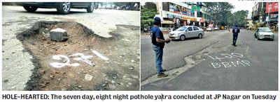 After spotting 420 potholes, padayatris stop counting