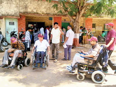 Paraplegic voters suffer at booth without help, ramps