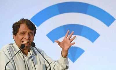 Suresh Prabhu launches wi-fi at 8 city stns