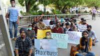 Panjab University students protest outside administrative block