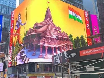 Ram Mandir bhumi pujan live updates: Ram Temple digital billboard at New York's Times Square