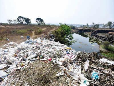 Plastic waste dumped on Mahatma Hill in Kothrud