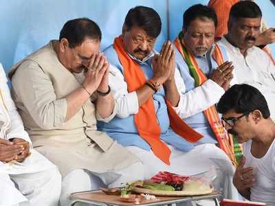 JP Nadda offers mass tarpan for slain BJP workers in West Bengal