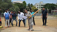 Congress candidate from Mumbai North constituency Urmila Matondkar plays cricket with youngsters