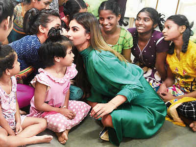 Mouni Roy visits a children's shelter in Andheri