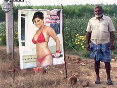 Andhra Pradesh: A farmer sets Sunny Leone 'starecrow' to save crops from evil eye
