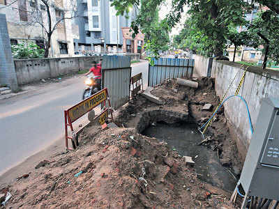 City roads bear brunt of rains