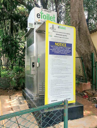 46 e-toilets in city rendered defunct as BBMP defaults on bill payments