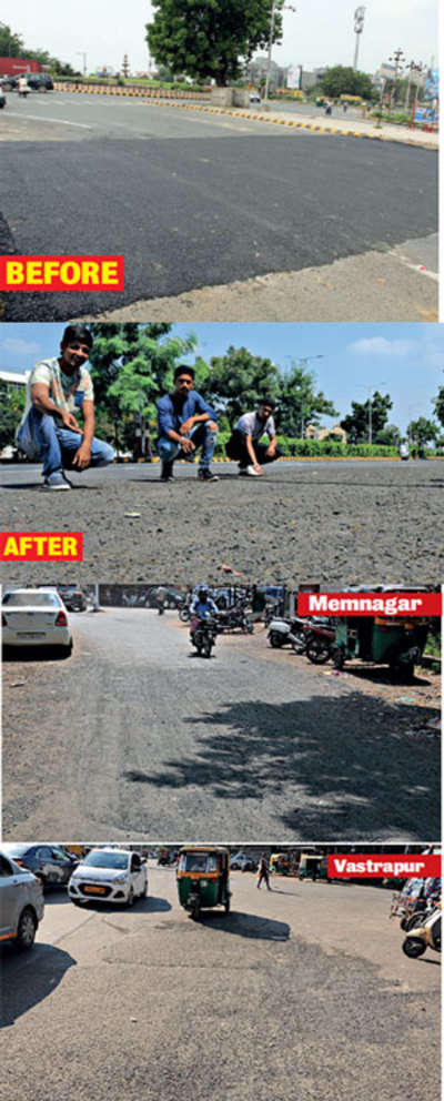 Most resurfaced roads are in bad shape again after Japanese PM Shinzo Abe's and PM Narendra Modi's visit