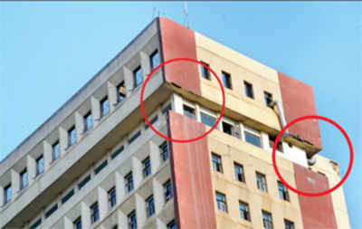 Top two floors of Utility Building crumbling