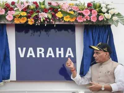 Defence Minister Rajnath Singh commissions Coast Guard ship Varaha in Chennai