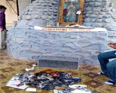 Bible, prayer books burnt at Daund grotto