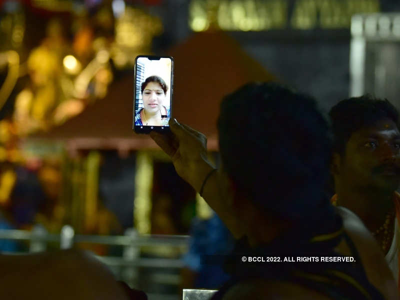 Women offer prayers to Lord Ayyappa on video call