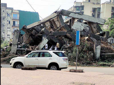 Debris from building uncleared in Kharghar