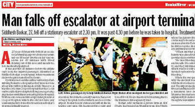 27-year-old who fell off airport escalator dies
