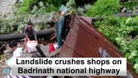 Landslide crushes shops on Badrinath national highway