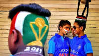 Indian cricket fans in Mumbai get hair styled for the World Cup