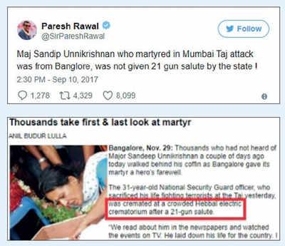 Fake News Buster: Major sandeep Unnikrishnan wasn't given 21-gun salute?