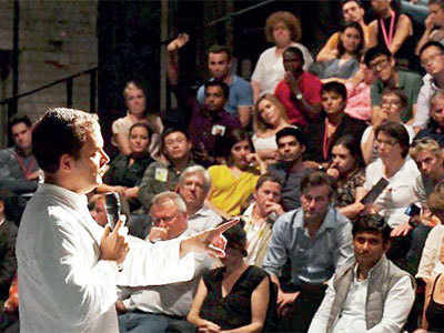 Who did Rahul Gandhi address from Europe?