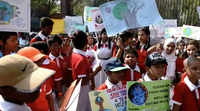 Hyderabad: School students staged protest on climate change