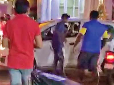 Drunk man intercepts car, creates a ruckus