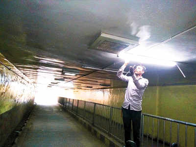 PMC installs electric fittings, bulbs in tunnel
