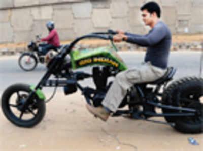 City boy's chopper bike burns rubber