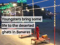 Youngsters bring some life to the deserted ghats in Banaras