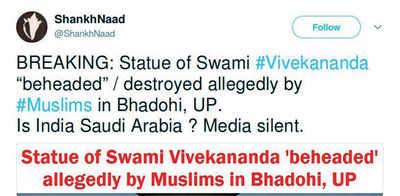 Fake News Buster: Statue of Swami Vivekananda beheaded by muslims?