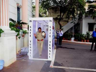COVID-19: Disinfectant tunnel set up at Telangana DGP office