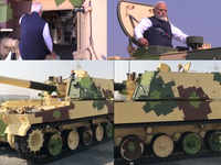 PM Narendra Modi checks out tanks in Gujarat's Hazira