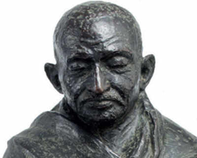 A bronze bust of Gandhi with a Churchill connection