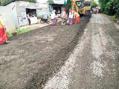 Kirkitwadi-Nandoshi road construction finally begins