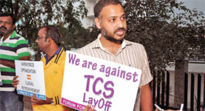 Techies protest against the layoffs at TCS