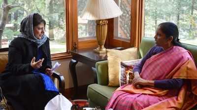 Mehbooba Mufti meets Defense Minister Nirmala Sitharaman at Pahalgam