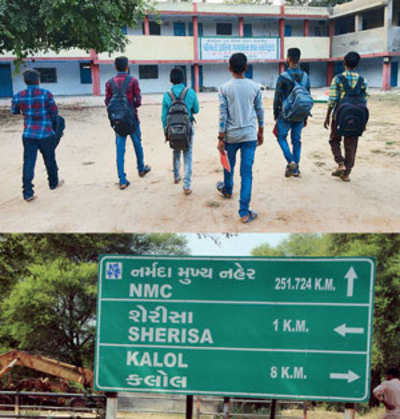 What Gujarat Model of Development? Children from villages upset at having to travel 8 kms every day to get to school in Kalol
