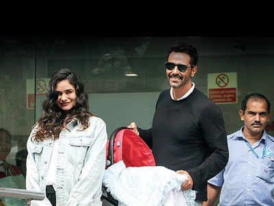 Arjun Rampal and Gabriella Demetriades take their baby home