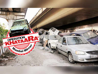 Pile of old cars blocks traffic on Western Express Highway