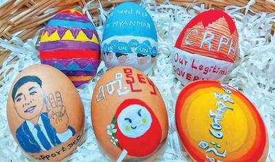 Protestors launch Easter-egg strikes