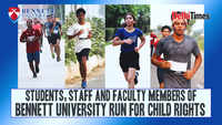 Students, staff and faculty members of Bennett University run for child rights