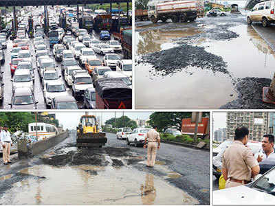 Sion-Panvel Highway: Pothole holds up traffic for eight hours