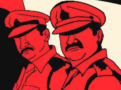 4 cops on run in extortion case held