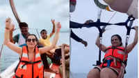 Dhivyadharshini enjoys parasailing in Andaman waters