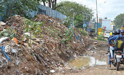Gargabe heap takes over pavement in Vivek Nagar