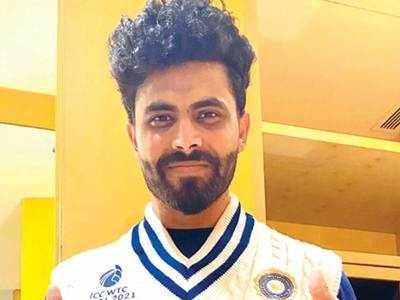 Jadeja displays Indian team's retro jumper for WTC final