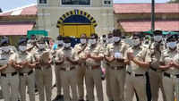 Cops chant Bharat Mata Ki Jai, as they step out after 21-day lockdown duty in Nagpur central jail