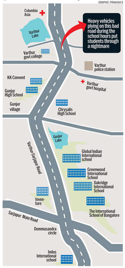 Daily jam that makes life a hell for students on Varthur-Sarjapur Road