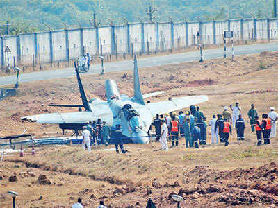 MiG aircraft overshoots Goa runway, catches fire