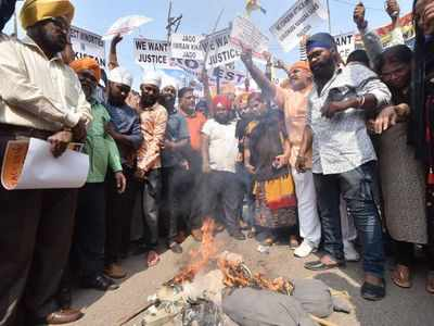 Hyderabad: Muslims join Sikhs to protest against Gurdwara Nankana Sahib attack in Pakistan