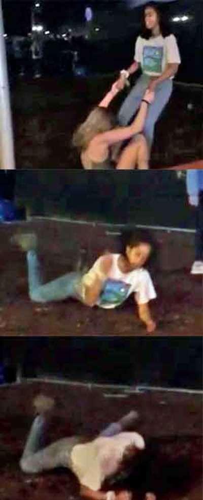 'Headbanging' Malia rolls on floor at Lollapalooza